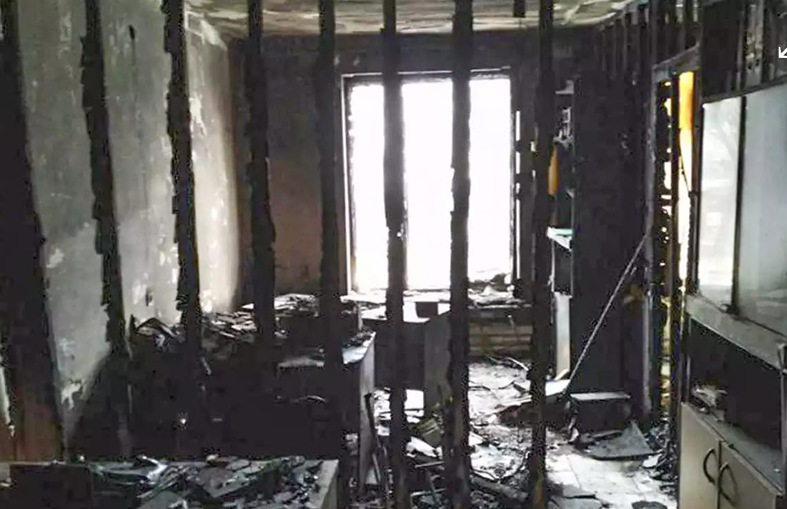 Russian human rights group has offices torched after leader's arrest